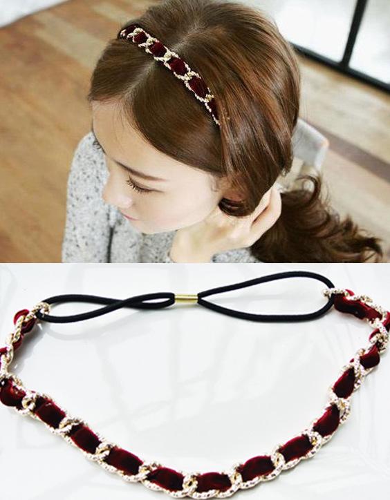 Headdress hair accessories headband sparkling Christmas velvet ring buckle temperament alloy ribbon HB31104(China (Mainland))