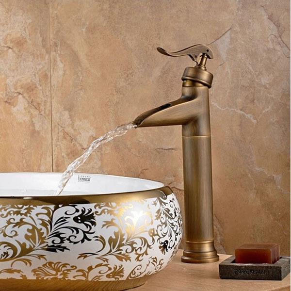 Фотография Deck Mount Tall Countertop Basin Vessel Sink Faucet Single Handle Waterfall Mixer Taps Antique Brass