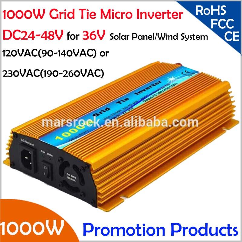 PROMOTION!!1000W Grid tie inverter, DC20V~45V, AC90V-140V or 190V-260VAC for 24V and 36V Solar Power and Wind Power System!(China (Mainland))