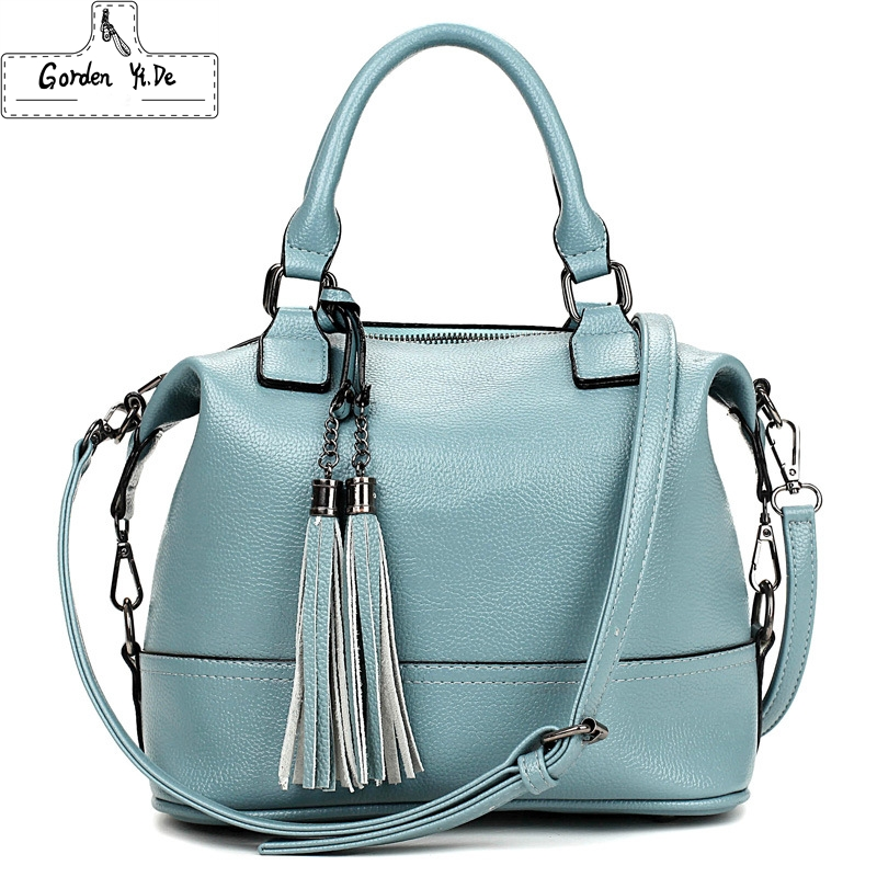 Genuine Leather Women's Boston Bag 2016 New European Boston Handbag Solid Color Cowhide Women Messenger Bag sac a main PT0251(China (Mainland))