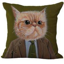 Cat Cartoon Dress Up Pattern Printed Linen Throw Pillow Case Cushion Cover