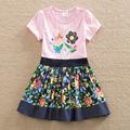 2016 Neat BABY Girl Clothes short Sleeve Girls Dress Kids pretty Dresses A line children clothing