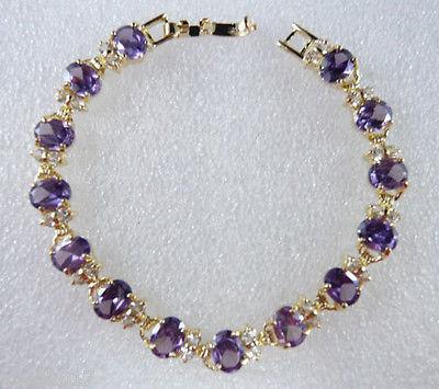 FREE SHIPPING beautiful fine 6*8mm purple Cubic Zirconia bracele(China (Mainland))