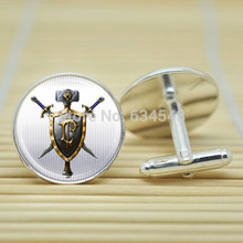 10pair WoW World of Warcraft , Human Crest Alliance in silver Cufflinks glass Cabochon Cufflinks C3157