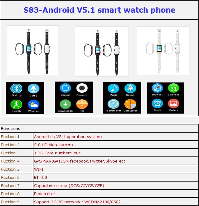 ถูก 3กรัมa ndroid p honeชมด้วยจอแสดงผลแบบสัมผัส/gps/wifi/กล้อง/บลูทูธ4.0 GSMสมาร์ทphoenนาฬิกาจัดส่งฟรี