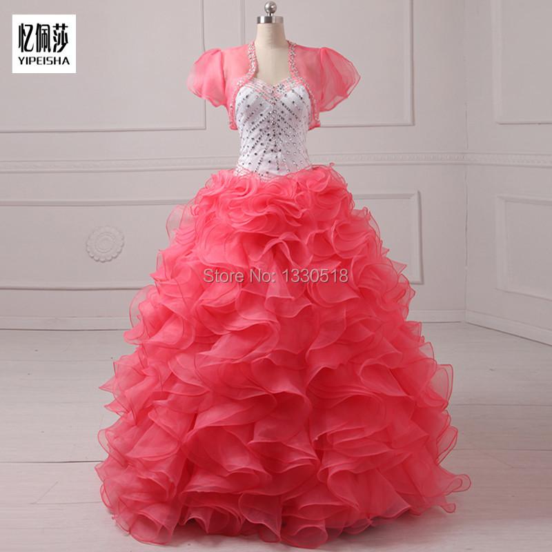 Новое поступление милая бальное платье из органзы пышное платье с бисером кристалл оборками на спине с