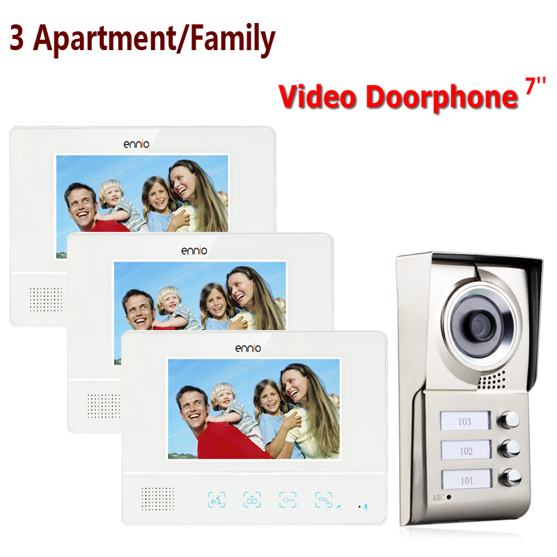 FREE SHIPPING ENNIO 3 Apartment/Family Video Door Phone Intercom System 1 Doorbell Camera with 3 button 3 Monitor Waterproof(China (Mainland))