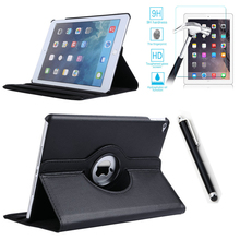 For Case Apple iPad Air 2 PU Leather Smart Stand Flip Case Cover 360 Rotating Premium Tempered Glass Screen Protector Gifts(China (Mainland))