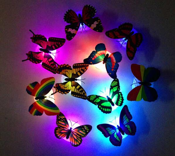 New 2015 1x 7 Color Changing Beautiful Cute Butterfly LED Night Light Lamp(China (Mainland))