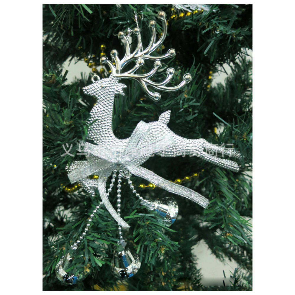 1 Pieces Silver Reindeer with Bells Pendants Christmas Ornament Hanging Decorations Xmas Baubles for Christmas Tree Decoration(China (Mainland))