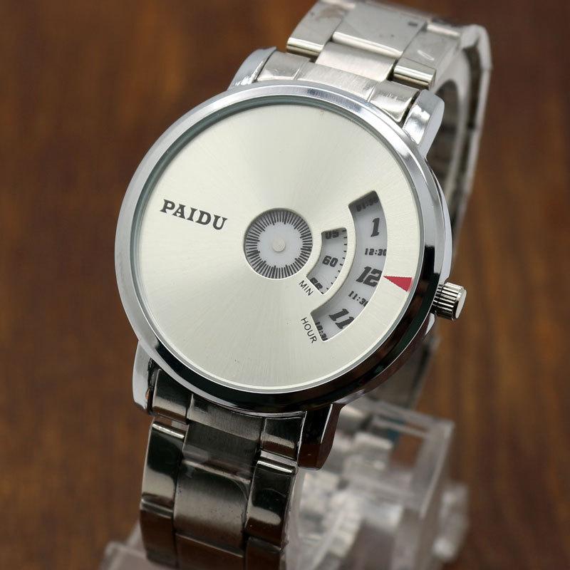 Turntable Dial PAIDU Net Mesh Steel Band Wrist Fashion Watch Men Women Gift