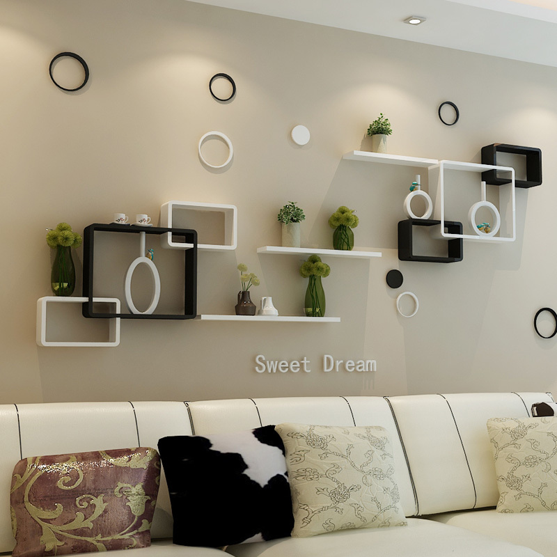 Tv background wall shelving cross creative lattice shelf clapboard restaurant living room living - Living room wall shelf ...