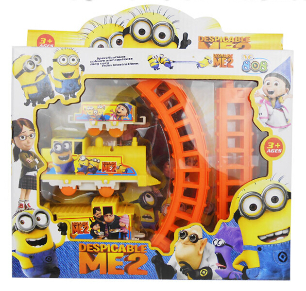 2016 New Despicable Me Minions Minion Figure Electric Train Track Baby Toy Kids Child Christmas Festival Gift(China (Mainland))