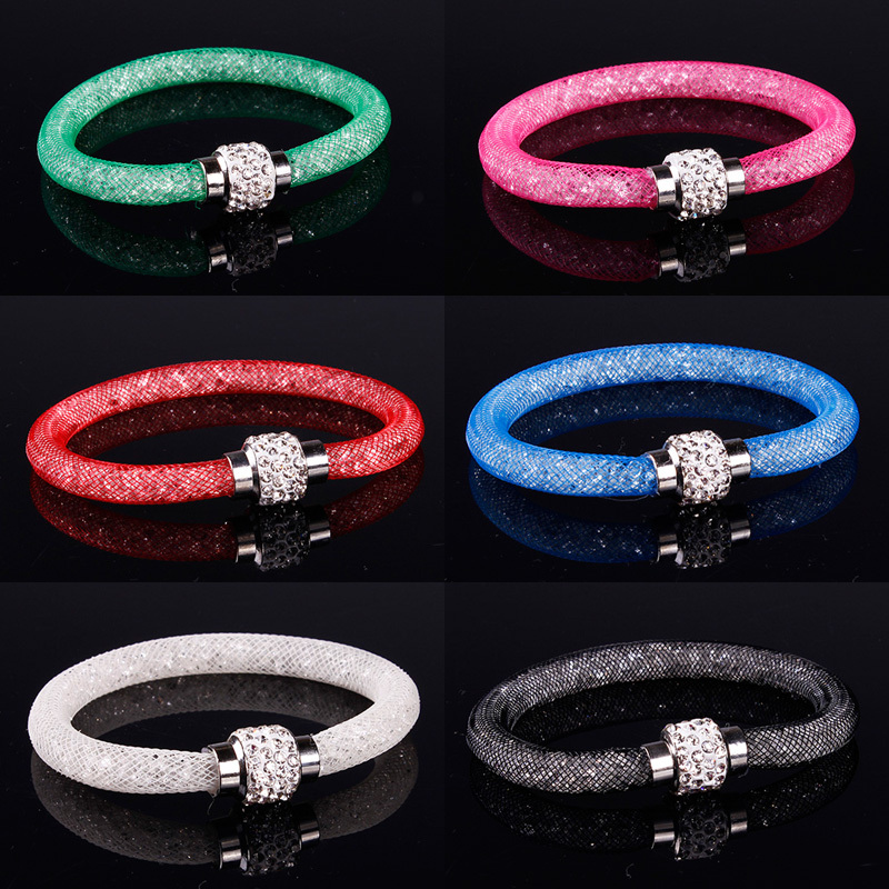 B100 Hot sale Stardust Mesh Bracelets With Crystal stones Filled Magnetic Clasp Charm Bracelets Bangles!#113(China (Mainland))