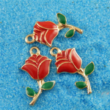 Buy Julie Wang 5PCS Alloy Charm Gold Color Red Enamel Rose Pendant Charms Handmade Hanging Tops for $1.23 in AliExpress store