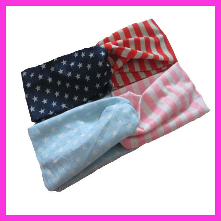 4th of July American Flag Headband Women Hair Headband Turband Twist Headband Stretched Handbands 100pcs/lot DHL Free shipping(China (Mainland))