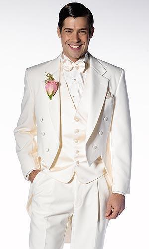 New Arrival white wedding suits for men morning suits men tailcoat groomsmen suits 3 pieces men suits
