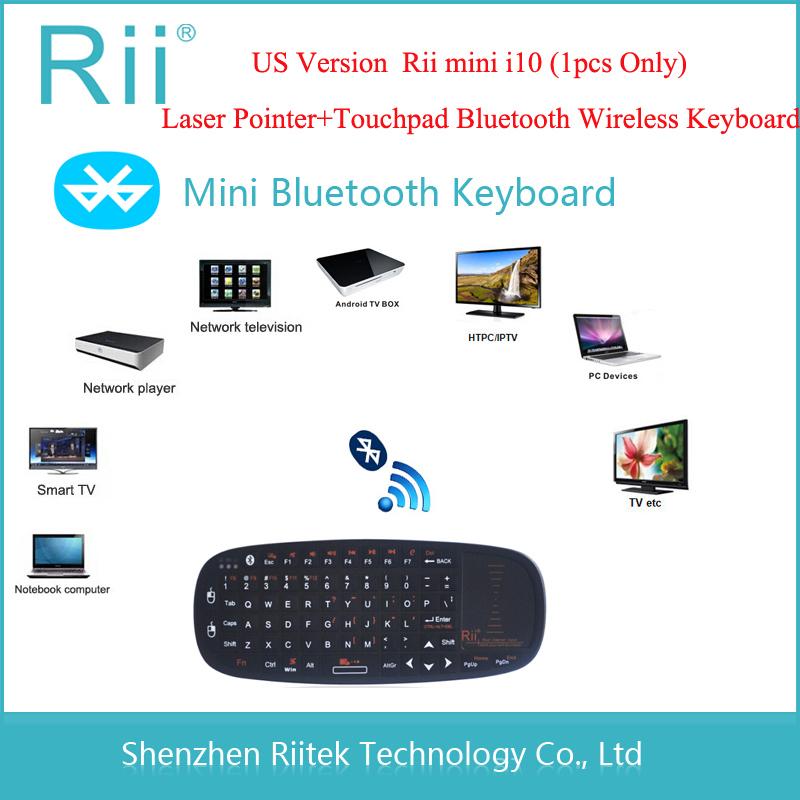Free shipping Rii mini i10 Wireless Bluetooth keyboard Touchpad Laser Pointer Combo for Tablet Andorid TV Box Mini PC Teclado(China (Mainland))