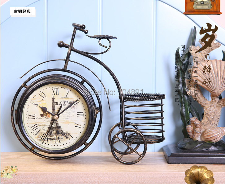 Antique Small bicycle shaped watch iron mute clock double faced rustic clock fashion quartz table clock metal desk clock 1pc/lot(China (Mainland))