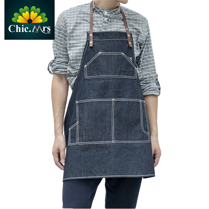 Bake Shop Waterproof Blue Personalized Cotton Apron With Real Leather Pure Brass For Chef Baristas Bakers 2016 New Coffee Milk(China (Mainland))
