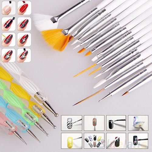 20 Pcs Nail Art Design Grupo Dotting Pintura Desenho Polonês Pen Escova Ferramentas 4DZ9