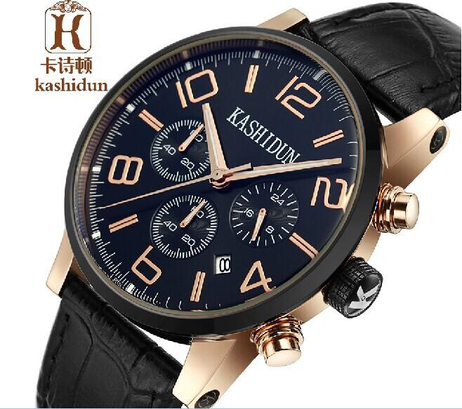 ksd famosa marca de relojes con correa de cuero genuino relojes de cuarzo reloj casual sumergible para hombres reloj de pulsera multifuncin para hombres