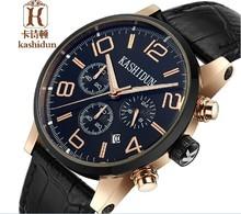 KSD famosa marca de relojes con correa de cuero genuino, relojes de cuarzo, reloj casual sumergible para hombres, reloj de pulsera multifunción para hombres