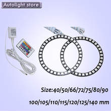 Multi-Color RGB LED angel eyes halo ring Headlights DRL Remote Kit - 40 50 66 72 75 80 90 100 105 110 115 120 125 140mm Autolight Store store