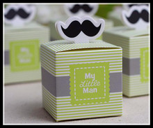 20pcs Stripe My little Man Cute Mustache Pattern Baby Shower Candy Box Birthday Party Supply Chocolate Box Favors 5.5*5.5*5.5cm