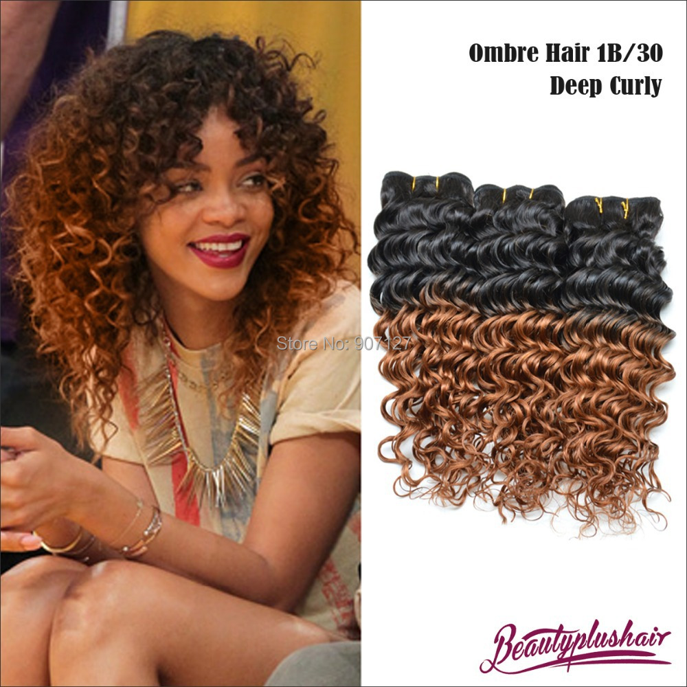 4pcs Lot 6a Hot Ombre Brazilian Curly Hair Weave Cheap