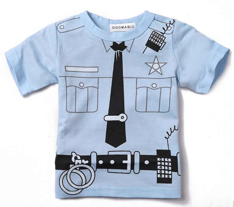 Police Costume Baby Boys Tshirts Short Sleeve Boys Tops Retail 1PCS Top Quality D2(China (Mainland))