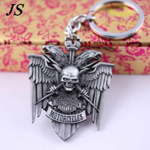 JS Metal Motorcycle Keychain Men Cool Skull Keyring Personalized Eagle Head Key Chain Cool Gadgets ME005