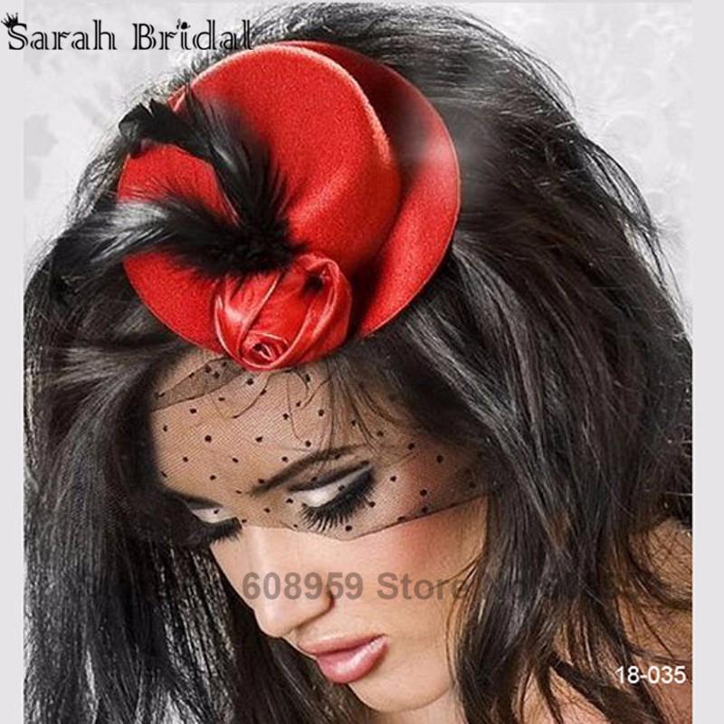 Винтаж чародей перо ткань чистая зажим для волос черный / красный / розовый коктейль Hat свадебного вечера ну вечеринку головной убор 18035