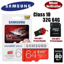 100% Genuine Samsung  micro SD TF Class 10 C10 Memory Card microsd 32GB 64GB up to 80MB/s Support Official Verification(China (Mainland))