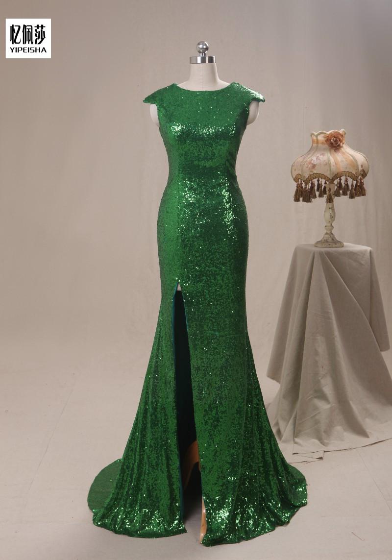 Free Shipping New 2016 Arrival Scalloped Sequined Vestidos Longo Elegant Sleeveless Floor Long velvet Evening Dress(China (Mainland))