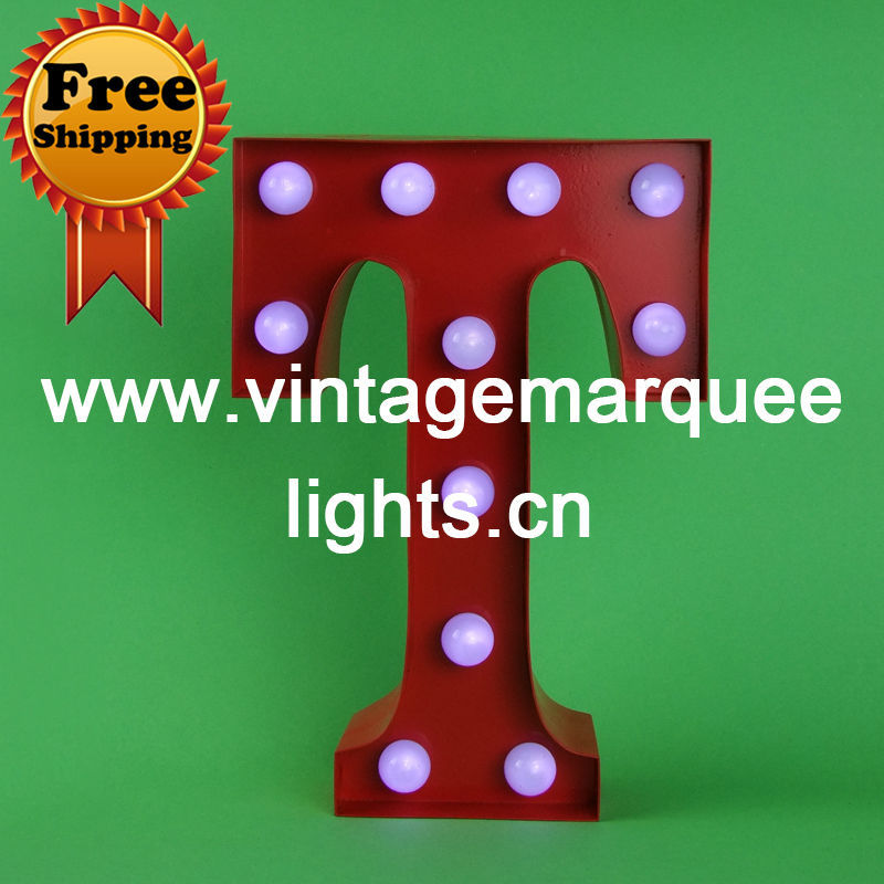 vintage channel letter light of 9 inch holiday Lighting, A-Z 26 Letters signs and Free Shipping(China (Mainland))