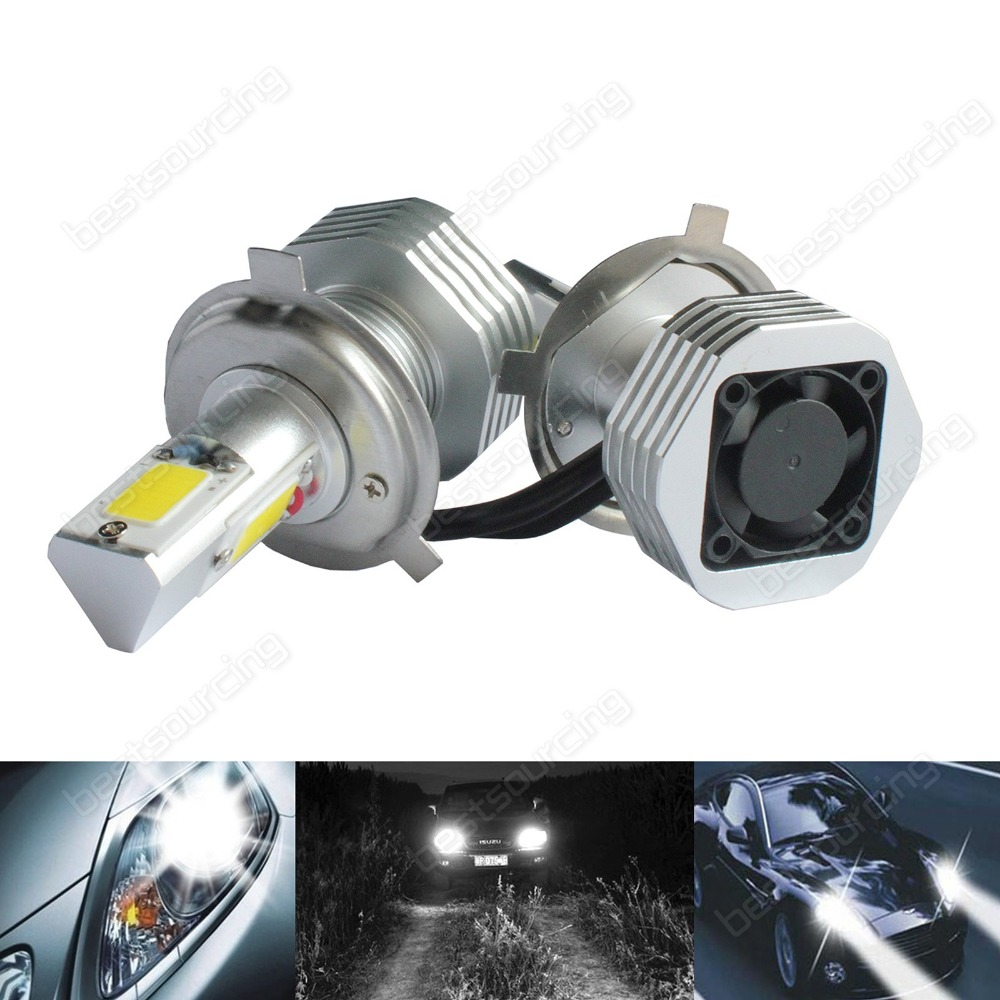 Фотография 2x H4 472 Bulb High Power COB LED 7600lm 60W HeadLight Fog Light DRL Error Free(CA225)