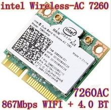 New  Intel Dual Band Wireless-AC 7260 7260HMW 802.11ac MINI PCI-E Card 2.4G/5G Dual Band 2x2 WiFi + Bluetooth 4.0(China (Mainland))