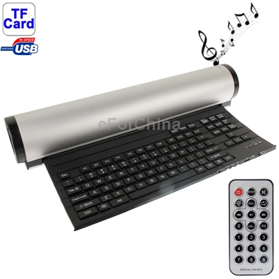 Фотография Rotatable Folding Keyboard with Speaker, Support Storage Disk:SD/TF/Flash disk and Support Computer/MP3/MP4,76(DIA) x 435(H)mm