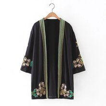 Spring and summer sun protection coat embroidered flowers in elegant black lace middle sleeve no button cardigan