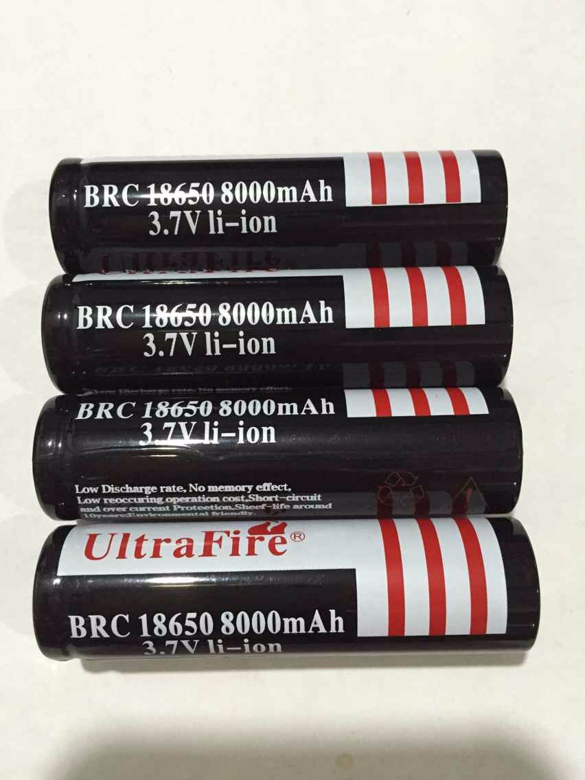 4pc a lot High performance UltraFire 18650 3 7V 8000mAh Rechargeable Battery 18650 li ion Battery
