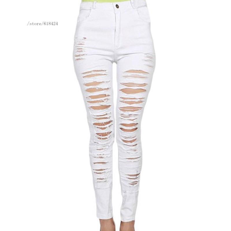 White black casual fashion women ladies hole high waist plus size long jeans girl elegant club denim pants(China (Mainland))