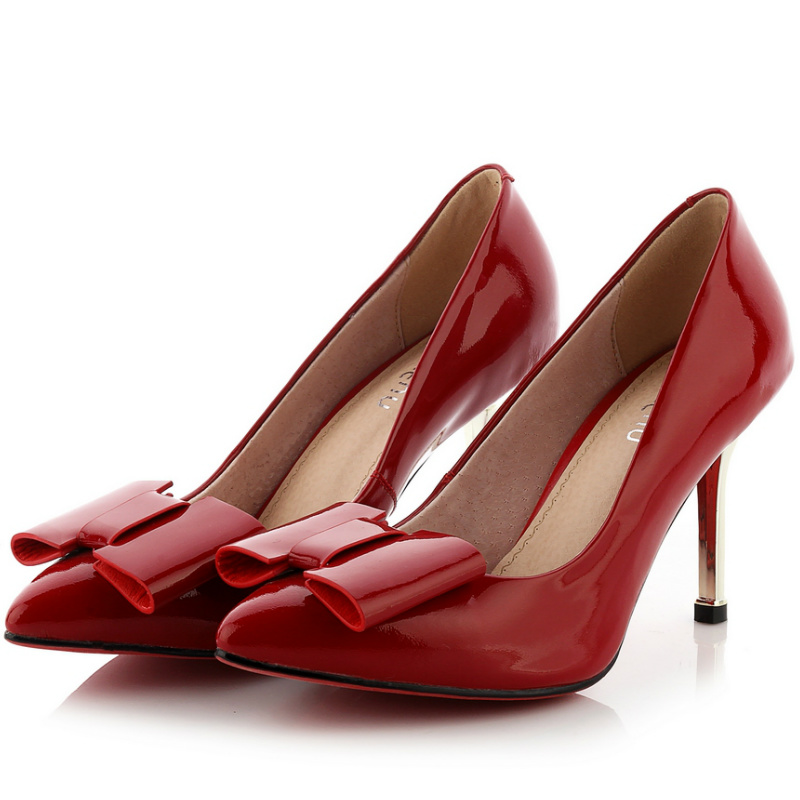 high quality genuine patent leather liner thin high heels shoes women 2016 black red bow up classic office ladies work pumps<br><br>Aliexpress