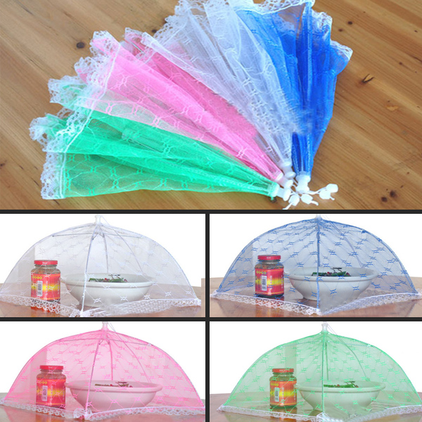 kitchen table Vogue Lace Mesh Screen Protect Food Cover Collapsible Umbrella Tents Dome Fly Picnic Large Food Cover(China (Mainland))
