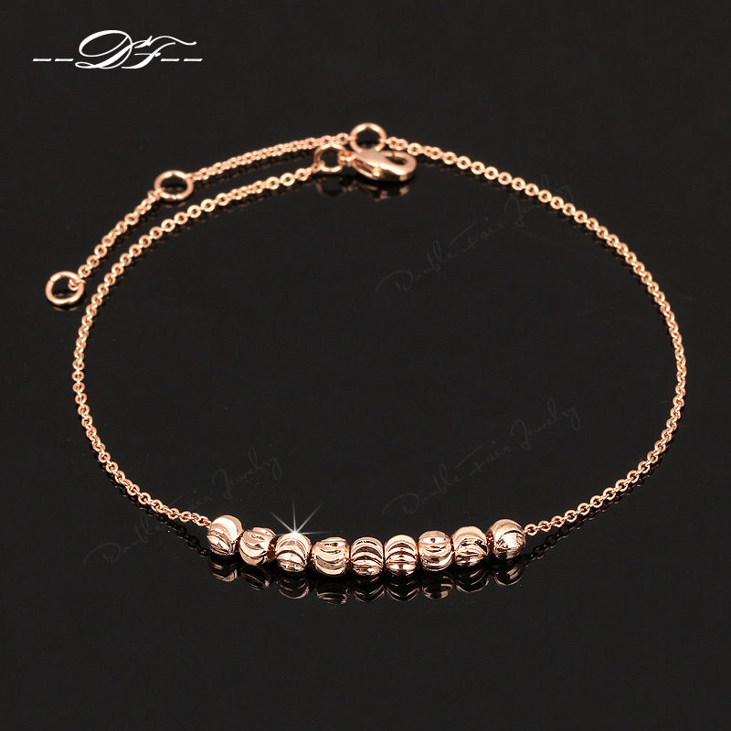 Simple Elegant 8 Beads Anklets Chain 18K Rose Gold Plated Fashion Brand Vintage Jewellery/Jewelry For Women Wholesale DFA020(China (Mainland))
