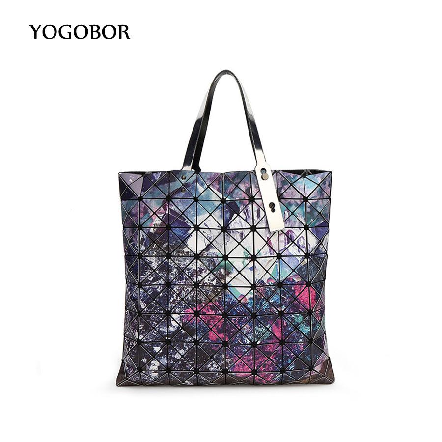 Fashion Bao bao women pearl bag dazzle laser sac bags Diamond Lattice Tote 8*8 geometry Quilted shoulder bag Foldable handbags(China (Mainland))