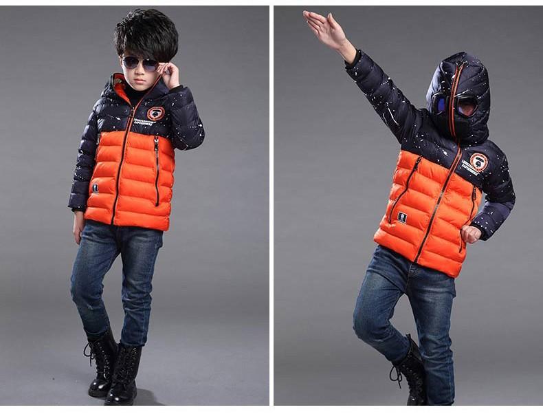 Скидки на Дети мальчики зимняя куртка мультфильм ветрозащитный анти-туман с капюшоном дети верхняя одежда пальто вниз хлопок мягкий теплый мальчик зима пальто