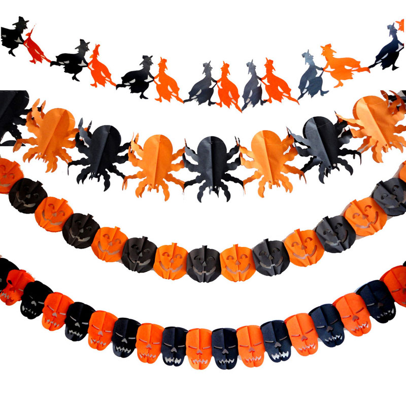 2016 New Fashion Party Decoration Skeleton Spider Pumpkin Ghost Bat Paper Garland For Halloween Supplies Site Layout Props 6Z(China (Mainland))