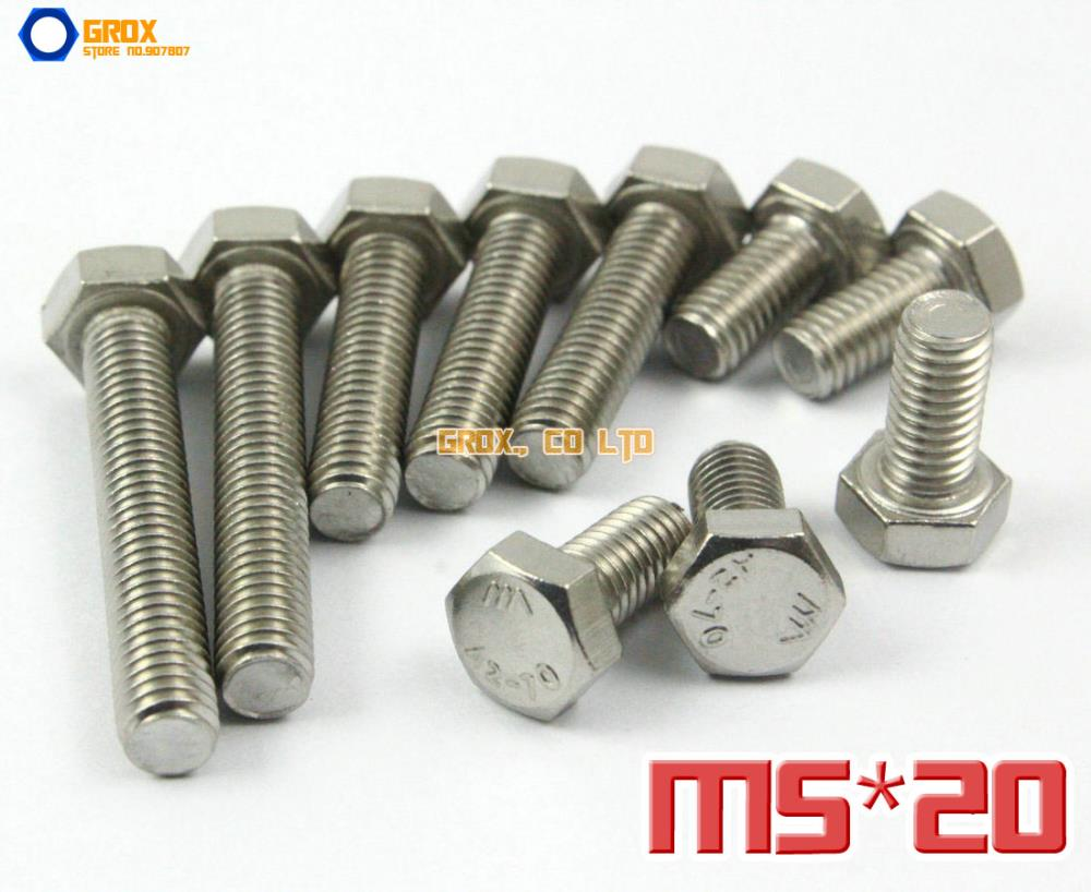 50 Pieces M5 x 20mm 304 Stainless Steel Hexagon Head Set Screw Fully Threaded Bolt<br><br>Aliexpress