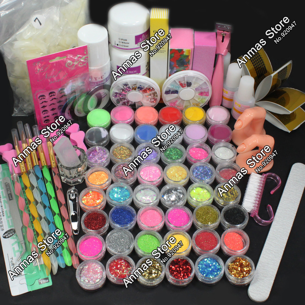 Hot Pro Acrylic Liquid Nail Art Brush Glue Glitter Powder Buffer Tool Set Kit #28(China (Mainland))